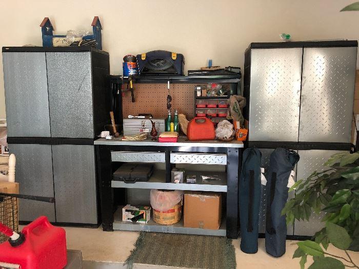 Husky garage work bench and storage cabinets
