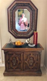 Painted wood mirror and Spanish style server