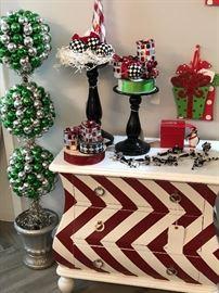 Mackenzie-Childs Ornaments, Chevron Design Petite Dresser, Lynn Chase Penguin Ornament, Festive Topiary