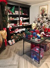 Boxed ornaments, table linens, napkin rings, chair covers, garlands and more!