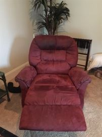 #13	Red Suede Recliner - as is	 $65.00