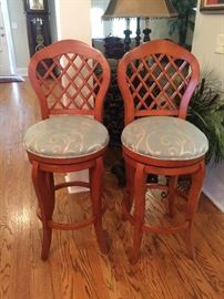 "#22	(2) Wood Swivel  Bar Stools  32"" Seat Height   $50 each	 $100.00"