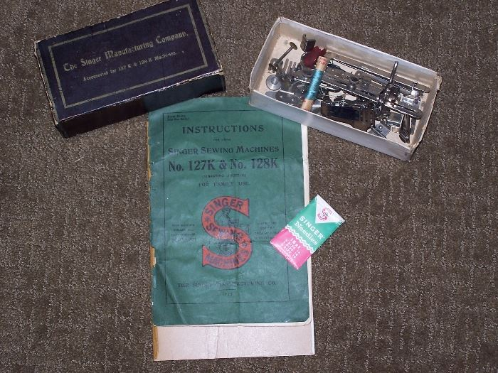 Singer Sewing Macine Manual from 1913 and Accessories