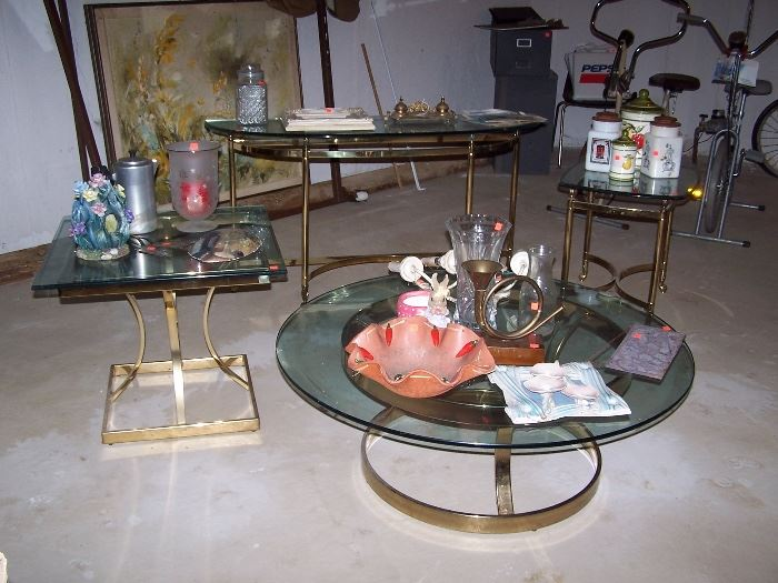 Brass and Glass Tables