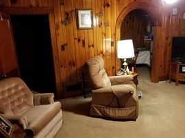 Lift chair and side tables for sale.