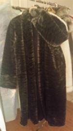 Women XL Full Length Faux Fur Coat in Dark brown & Black colors