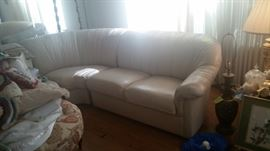 View 2 Custom Leather Sectional in Cream Color