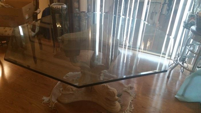Photo 2 of 1/2 inch Glass top table with ancient style stone base
