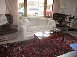 Loveseat, occasional chairs, coffee table