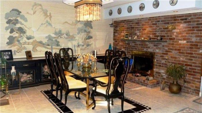 Black Lacquer Asian Dining Room Set