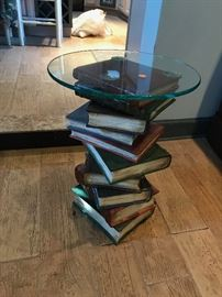 End Table with Faux Stacked Book Base