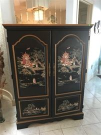 Asian Chinoisere Lacquer Armoire (Closed)