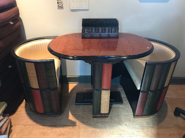 Small Dining Table with 2 Pull Out Chairs (Open)