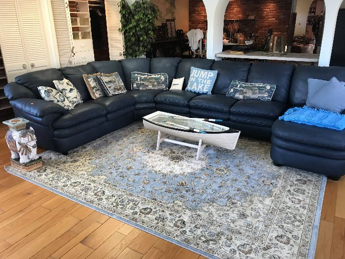 Leather Sectional Sofa / Boat Coffee Table / Area Rug / Elephant End Table