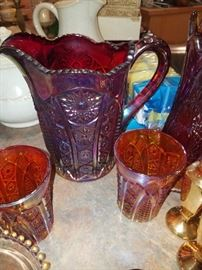 Carnival Glass Pitcher and Glasses