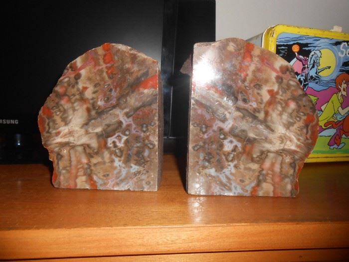 Another terrific example of bookends via polished petrified wood