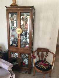 Vintage Oriental style curio cabinet