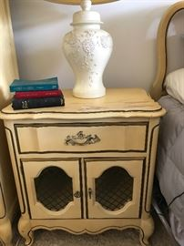Pair of nightstands, solid, but do have wear on top  26.5 t x 16 d x 24.5 w