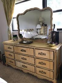 Bassett Funiture Dovetail French Provincial Bedrom set Dresser 64 L x 32.5 T  - mirror 34.75 x 44.5 w