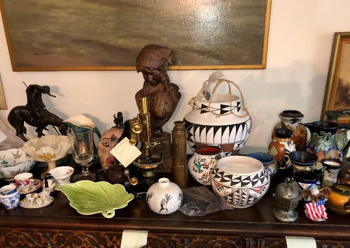 Collection of Gouda Holland pottery & Native American pottery