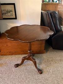 Antique tilt top piecrust table