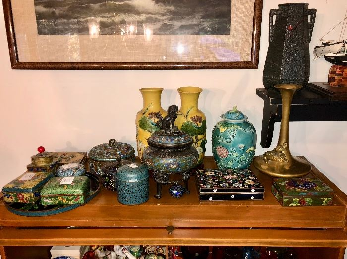 Chinese cloissone & pottery