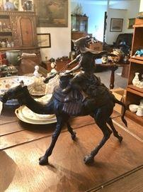 Camel & rider bronze