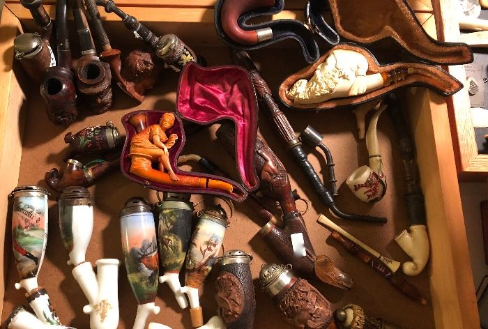 Pipes Meerschaum, Porcelain Snuff Pipes, Water pipes, carved wood pipes
