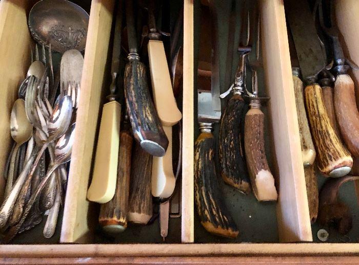 Antler mounted forks & knives