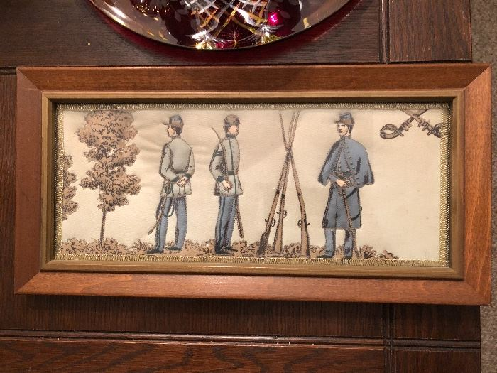 Antique quilted military scene