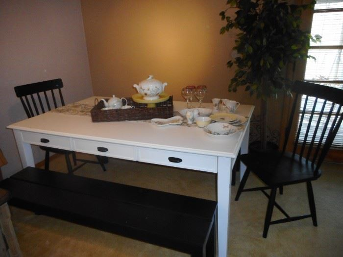 Magnolia Home White Farm House Table. With 2 Bench's.  Drawers on each side of table