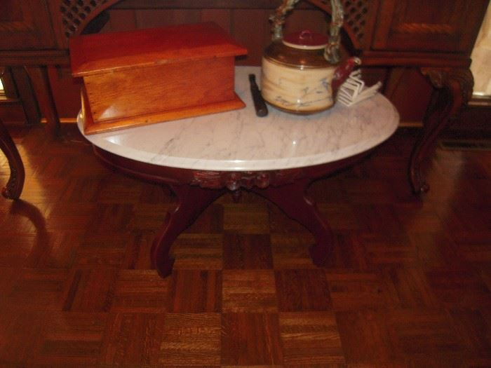 mahogany marble top coffee table