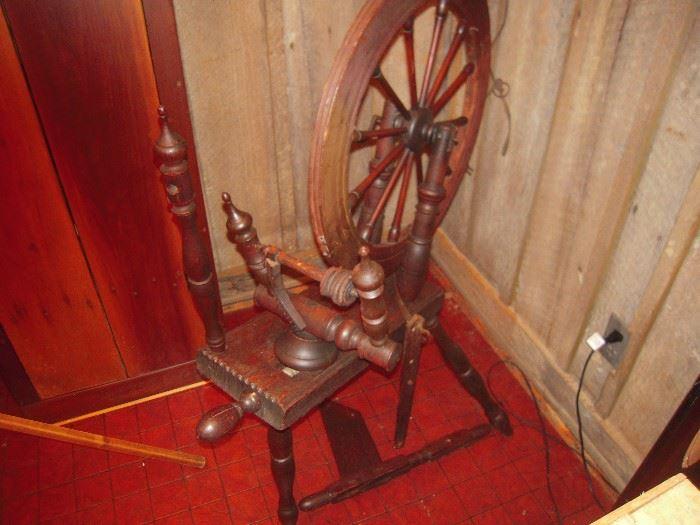 old flax wheel