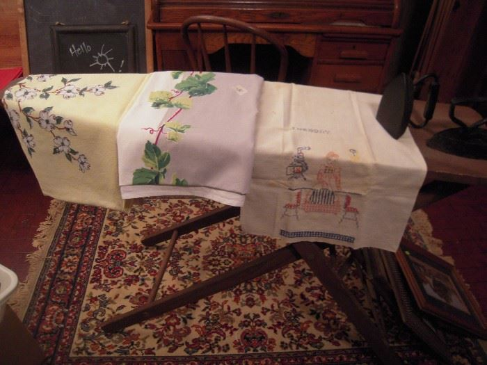 old wood ironing board  ,linens