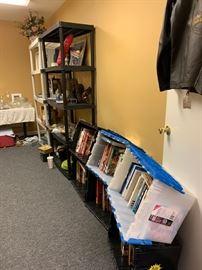 Lots of books,  cookbooks and paperbacks.