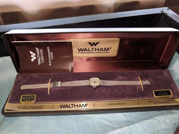 Working new/old 17 Jewel Waltham watch with six diamonds.