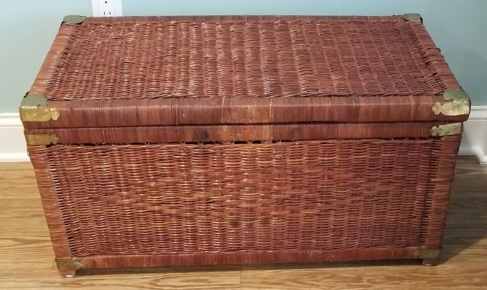 """Wicker storage chest in excellent condition! Measures 31""""L x 16""""W x 16"""" H"""