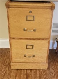 "Wood 2 drawer filing cabinet, measures 28""x16""x17"""