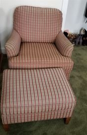 Red chair and matching ottoman