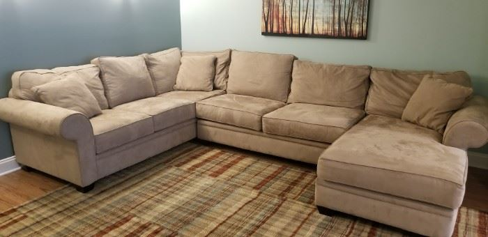 Tan suede sectional couch, extremely comfortable!