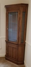 """Beautiful oak corner china cabinet in perfect condition, set of 2. Measures 80"""" x 34"""""""