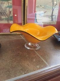 Teleflora Orange Hand Blown Deco Art Glass Bowl