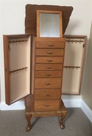 Oak jewelry armoire in excellent condition!