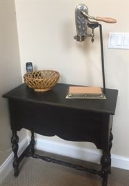 Black painted accent table, braided ceramic bowl, new tabletop wine opener