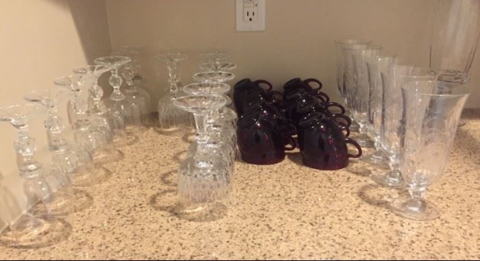Crystal wine goblets, priced to sell! Red depression glass coffee mugs