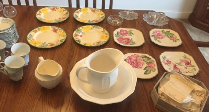 Cream colored pitcher and bowl, Onondaga Pottery flower plates with original box and receipt from 1949!