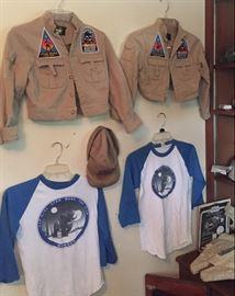 Vintage Star Wars Luke Skywalker Rebel Fatigue jackets with original fan club patches, two youth sizes available / Vintage original Star Wars fan club member T-shirts!