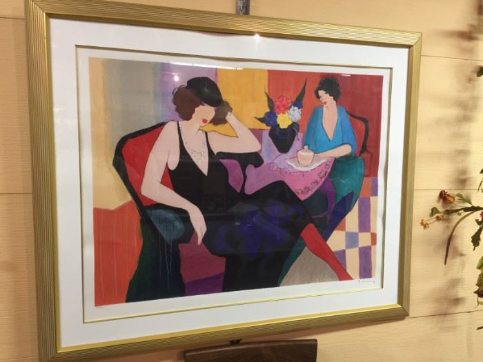 """""""Maria and Susie"""" Limited Edition Hand Signed Serigraph by Itzchak Tarkay 42-1/2"""" x 34"""" x 2-1/2"""""""