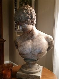 This solid plaster bust is 25 in x 16 in.  He is in excellent condition, and very heavy.