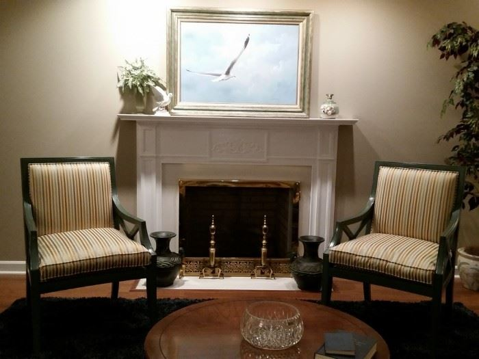View of Two nearly new matching accent chairs, with removable seat cushions and a painted wood finish Bought from Madison Lighting.  Very nice and clean.